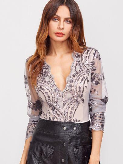 Scalloped V Neck Sequins Embroidered Long Sleeve Grey Bodysuit