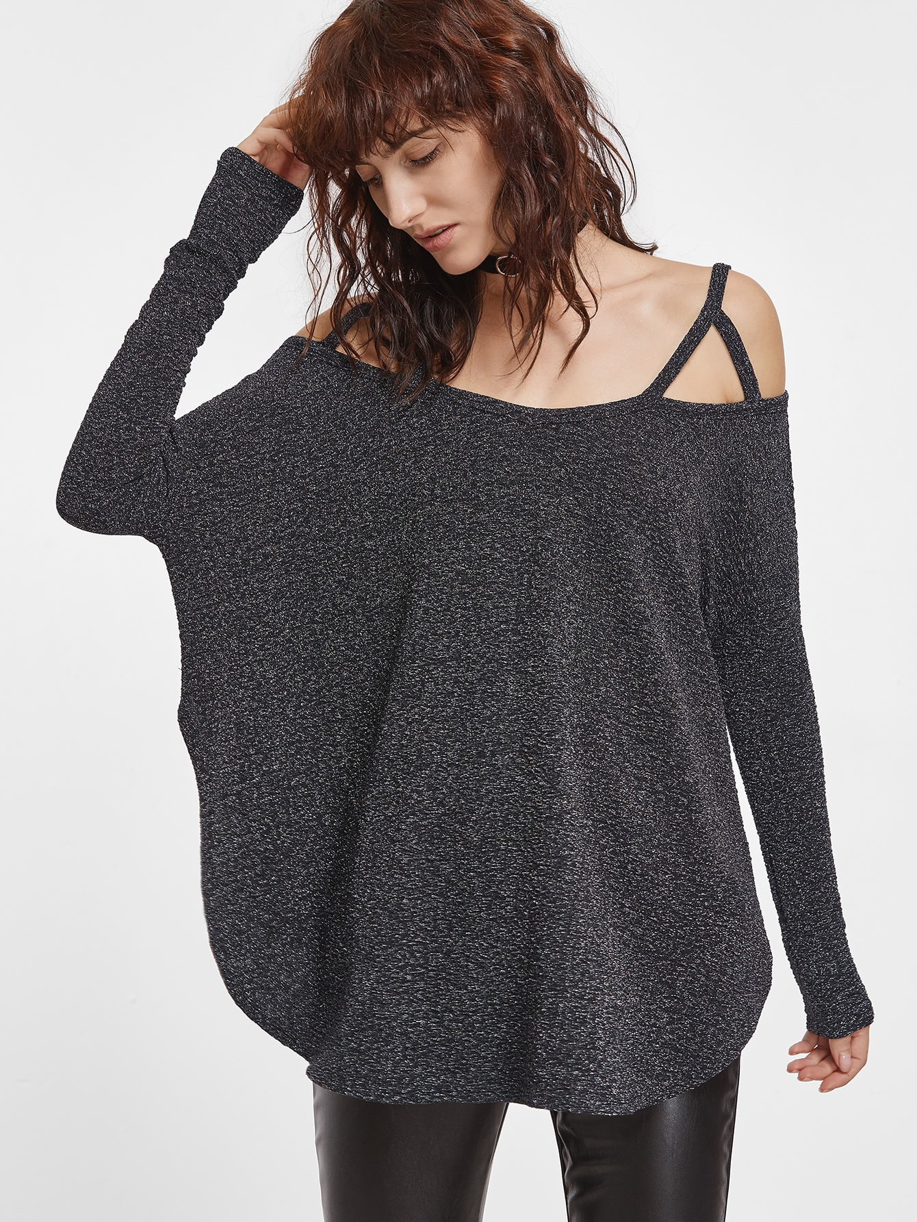 Фото Dark Grey Cold Shoulder Curved Hem Oversized T-shirt. Купить с доставкой