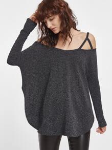 T-shirt à l'épaule fendue ourlet courbé de grand taille -gris foncé