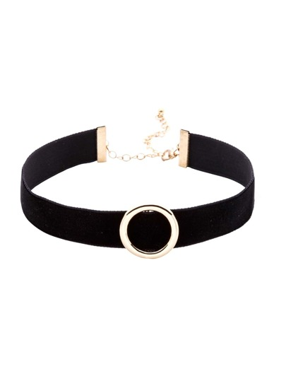 Black Hollow Circle Metal Choker Necklace