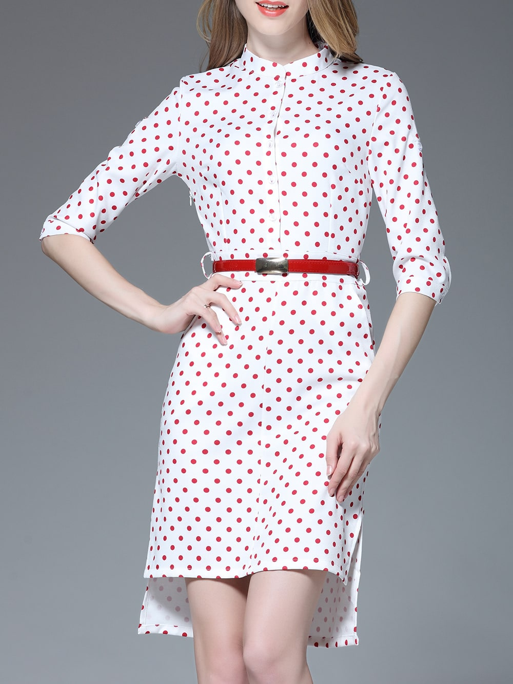 Фото Red Polka Dot Belted High Low Dress. Купить с доставкой
