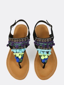 Faux Suede Beaded Pom Sandals BLACK