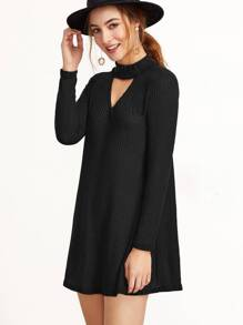 Black Mock Neck Cut Out Ribbed Dress