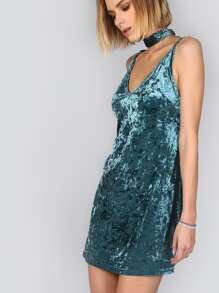 Blue Crushed Velvet Cami Dress With Neck Tie
