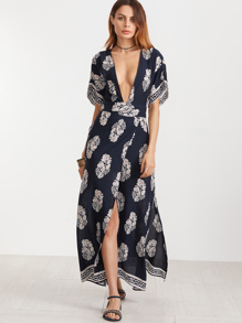 Navy Vintage Print Plunge Neck Open Back Kimono Wrap Dress