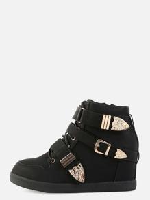Triple Strap Wedge Sneakers BLACK