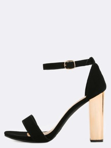 Open Toe Metallic Chunky Heels BLACK