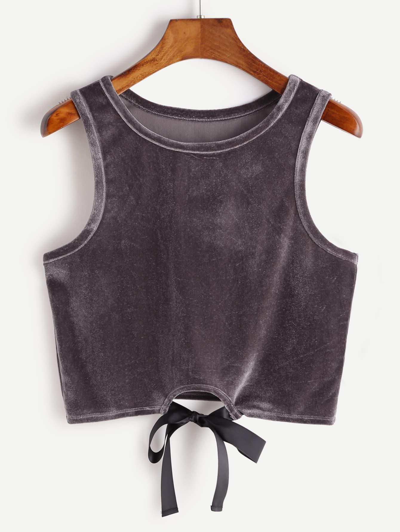 Tie Front Crop Velvet Tank Top vest161228703