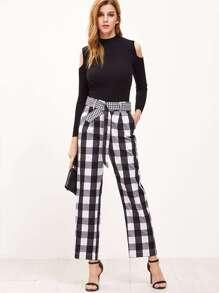Pantalons larges écossais avec ceinture - noir et blanc