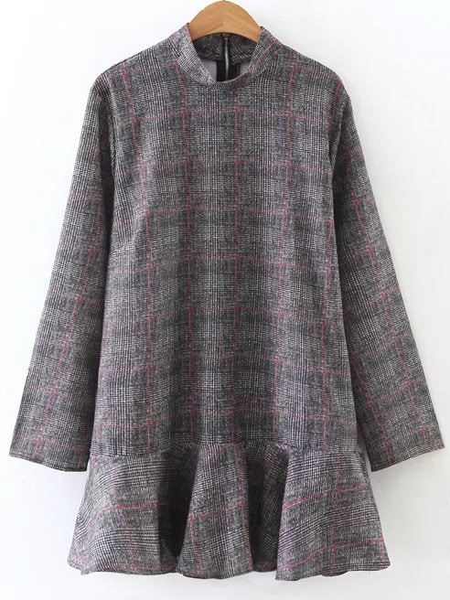 Фото Grey Plaid Band Collar Drop Waist Dress. Купить с доставкой