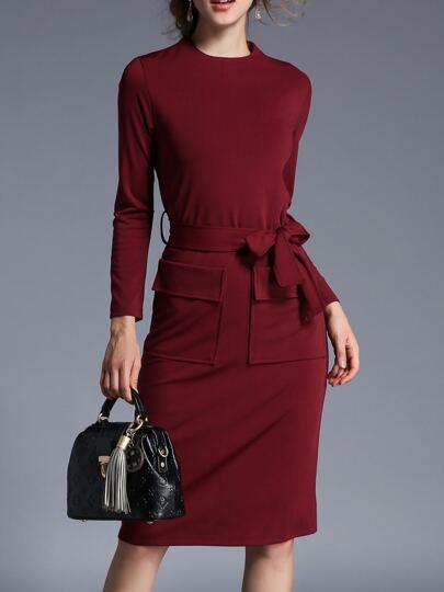 Burgundy Crew Neck Tie-Waist Sheath Dress