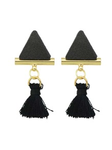 Black Color Triangle Shape Tassel Drop Earrings
