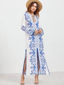 Aztec Print Plunging V Neck Pom Pom Trim Slit Dress