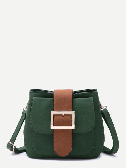 Dark Green Buckled Strap Pocket Front Shoulder Bag