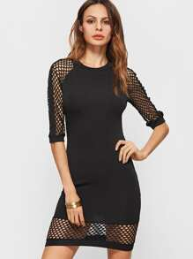 Black Eyelet Mesh Sleeve And Hem  Cutout Back Bodycon Dress