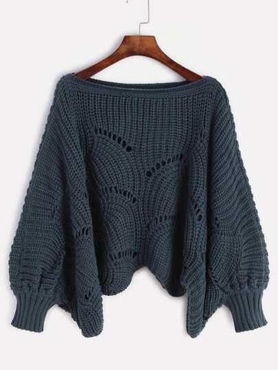 Navy Lantern Sleeve Hollow Sweater