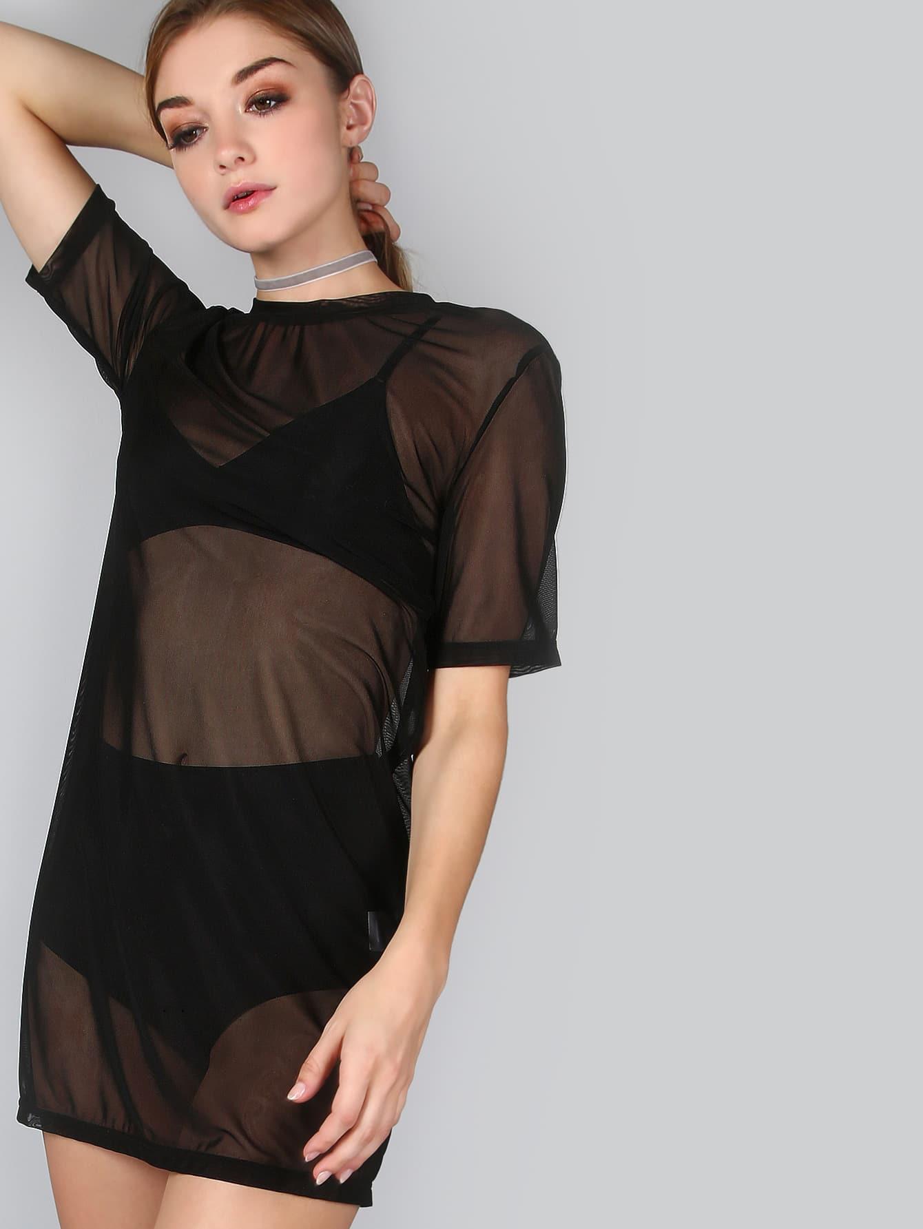 Mesh T-Shirt Dress BLACKMesh T-Shirt Dress BLACK<br><br>color: Black<br>size: L,M,S,XS