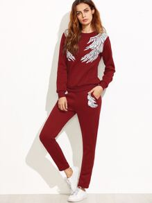 Burgundy Angel Wings Print Sweatshirt With Pants