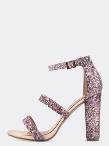 Open Toe Glitter Chunky Heels PINK