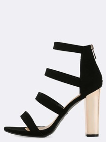 Metallic Strappy Chunky Heels BLACK