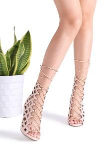 Sandalias con diseño hueco con cordones de tacón de aguja - albaricoque