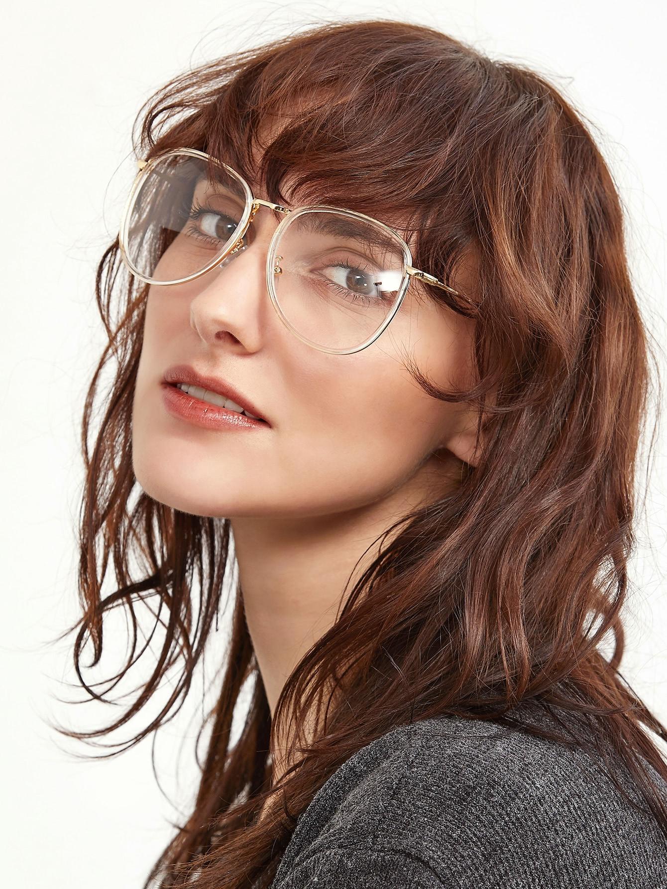 Фото Gold Metal Frame Clear Lens Retro Style Glasses. Купить с доставкой
