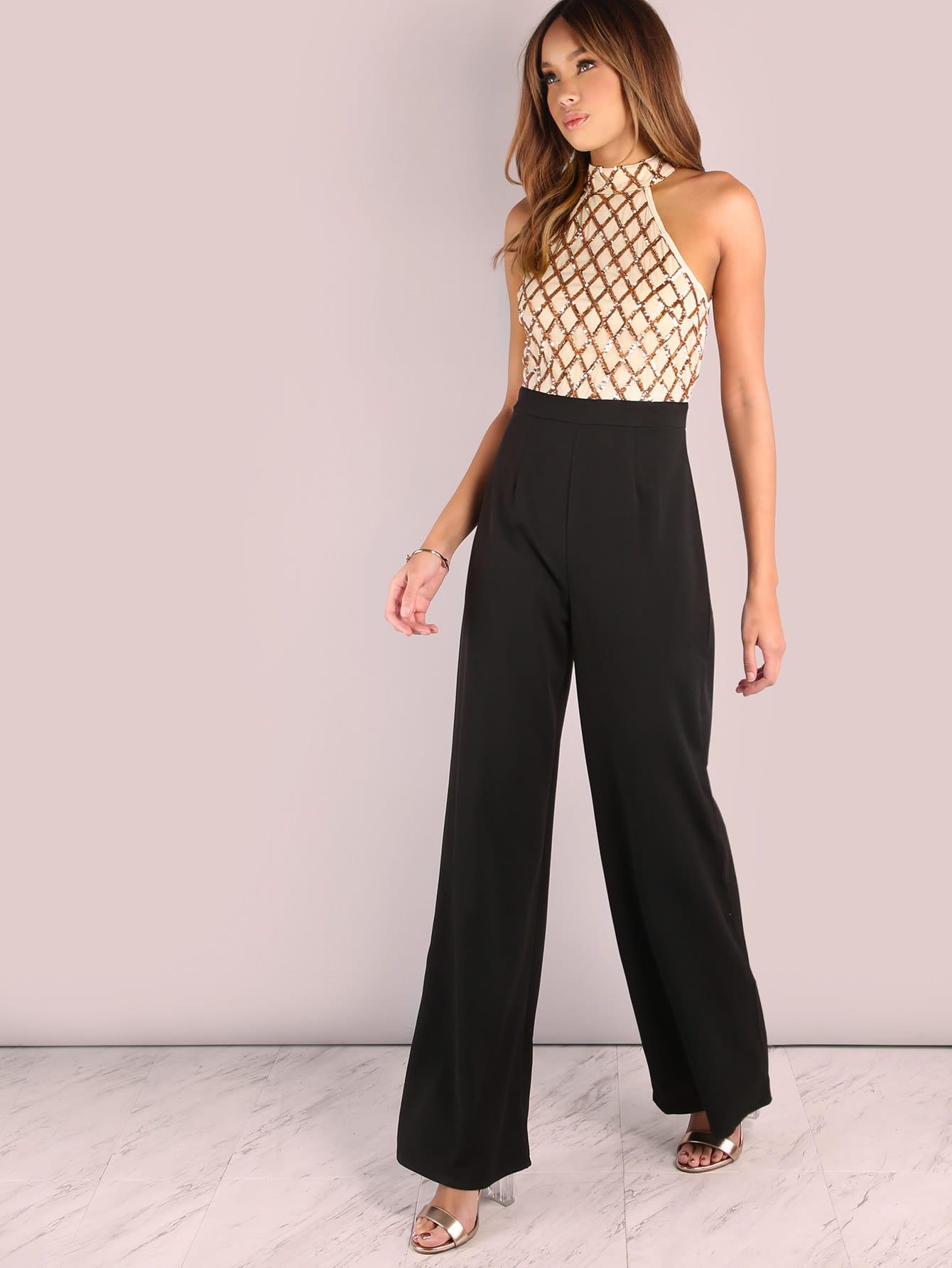 Фото Sequin Diamond Tailored Wide Leg Jumpsuit. Купить с доставкой