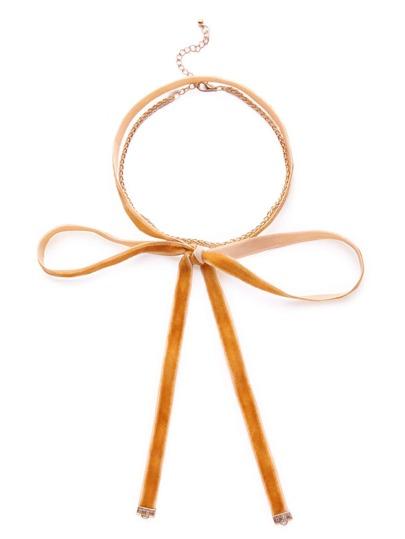 Gold Tone Velvet Choker Bow Wrap Necklace Set