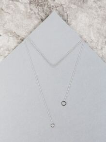 Circle Cut Out Pendant Chain Necklace SILVER