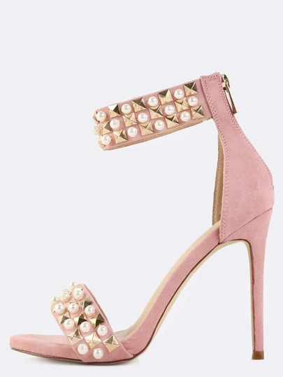Ankle Strap Pearl Trim High Heels DUSTY PINK