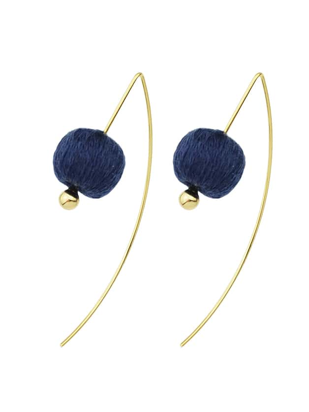Blue Color Rope Ball Hanging EarringsBlue Color Rope Ball Hanging Earrings<br><br>color: Blue<br>size: None