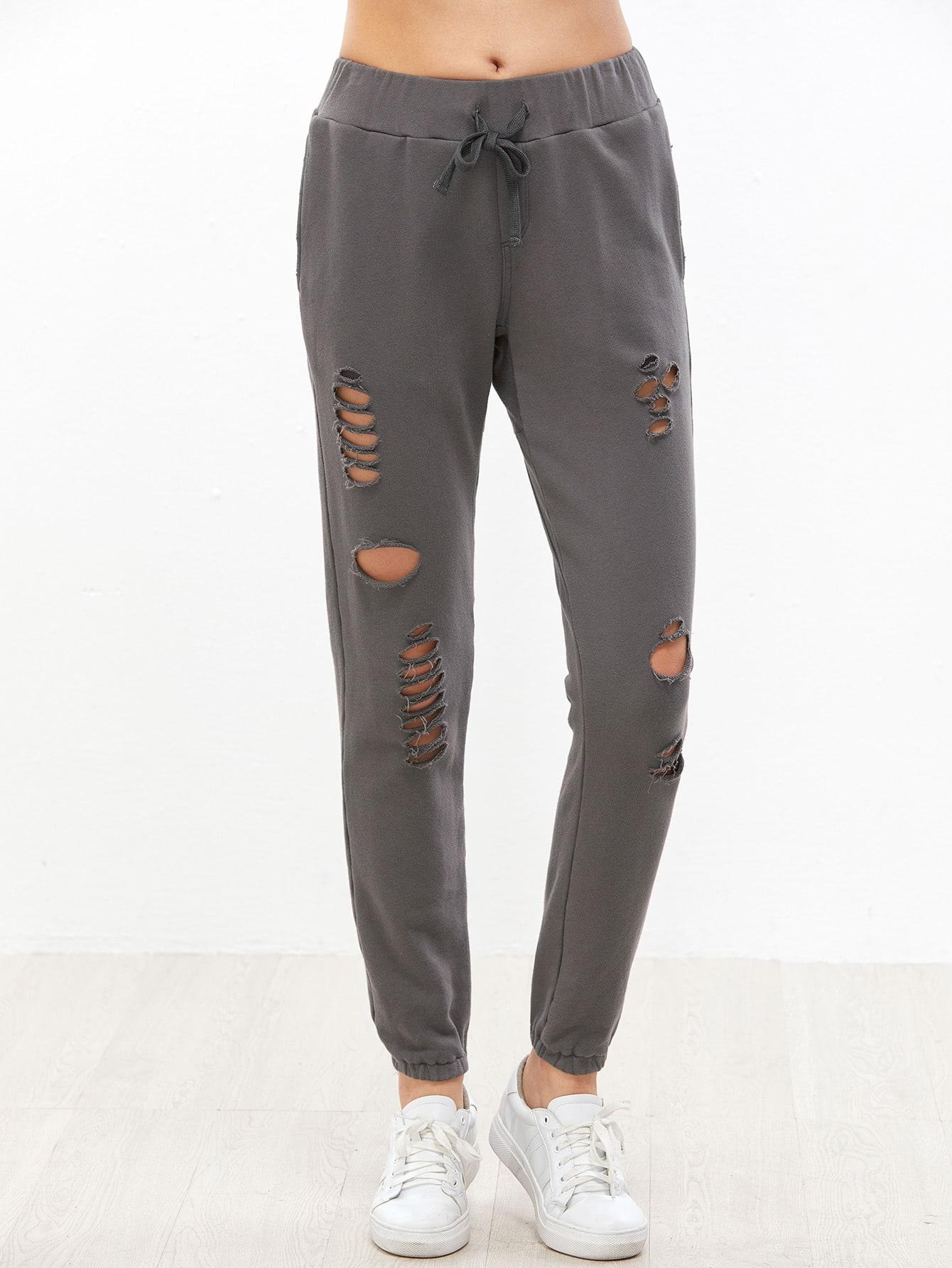 Grey Drawstring Waist Distressed Sweatpants pants161201702
