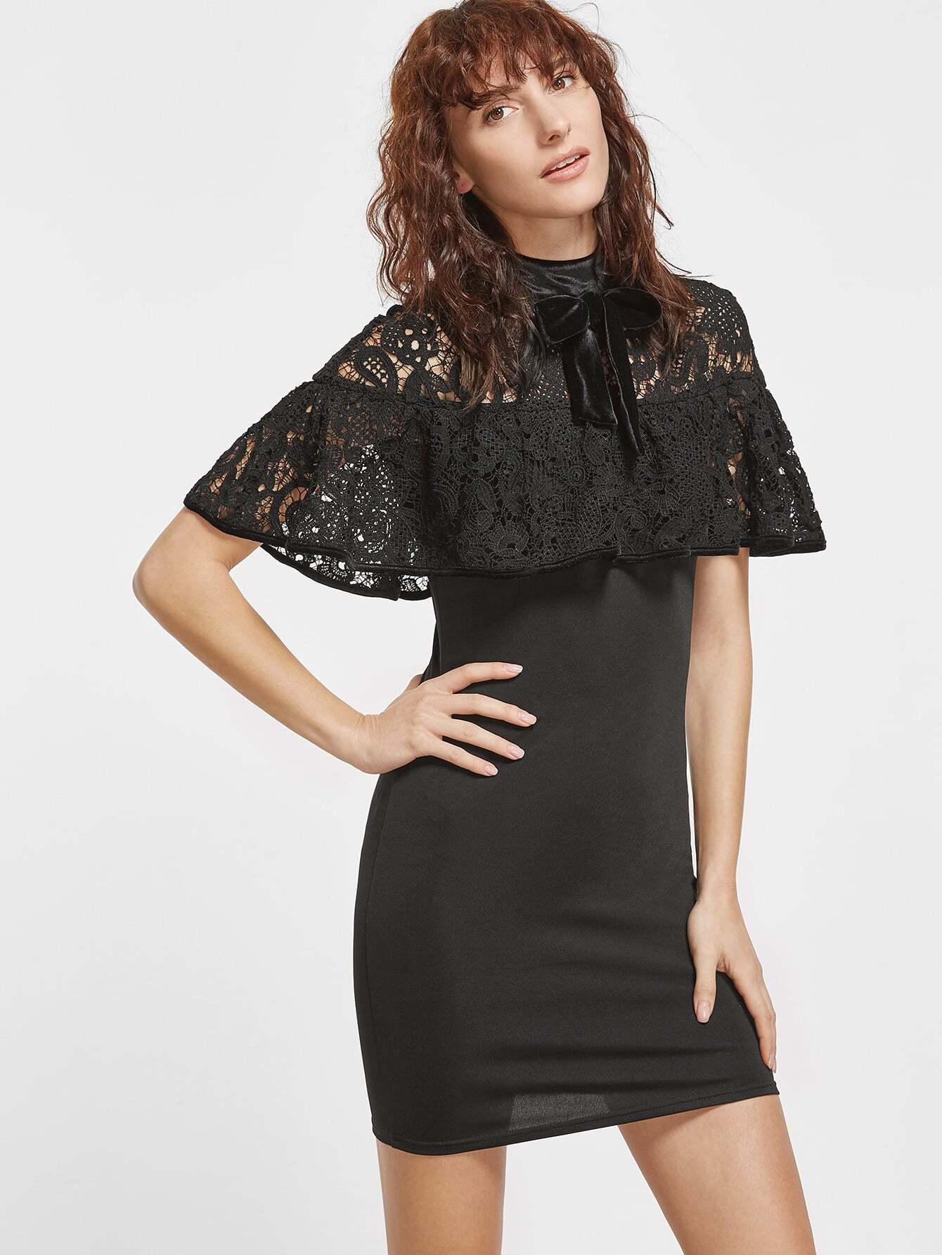 Фото Black Tie Neck Embroidered Lace Shoulder Ruffle Dress. Купить с доставкой