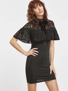 Black Tie Neck Embroidered Lace Shoulder Ruffle Dress