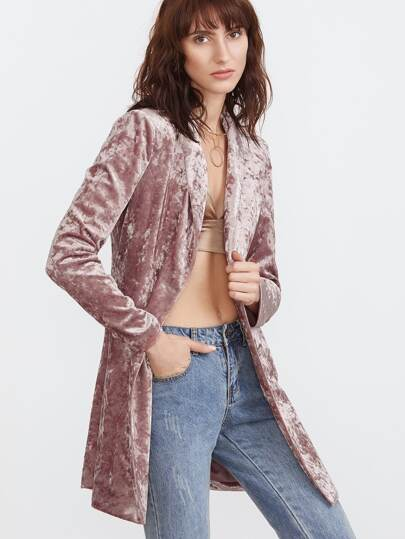 Shawl Collar Double Breasted Longline Crushed Velvet Blazer