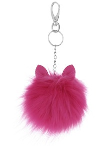 Purple Pom Pom Little Monster Charm Keychain