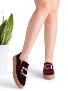 Burgundy Metal Embellished Rubber Sole Sneakers