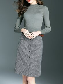 Grey Sweater Top With Belted Houndstooth Skirt