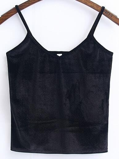 Black Spaghetti Strap Velvet Cami Top vest170102201