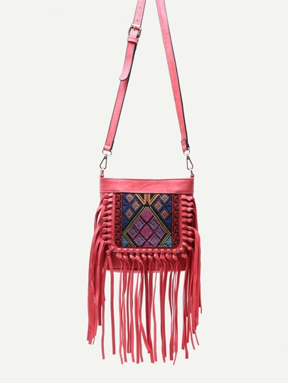 Red Tribal Embroidery Tassel Trim Crossbody Bag