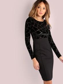Croc Velvet Midi Dress BLACK