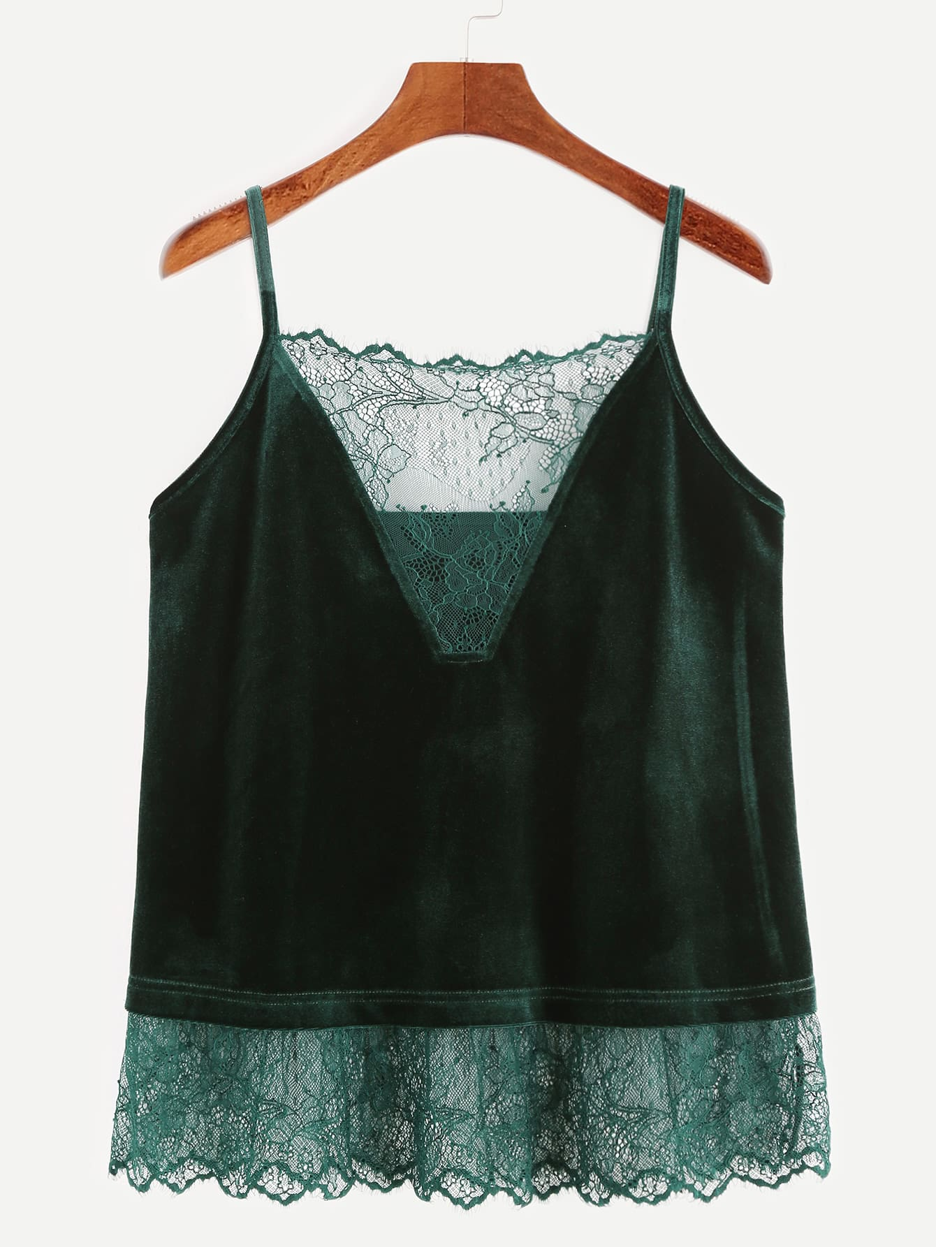 Фото Dark Green Lace Trim Velvet Cami Top. Купить с доставкой