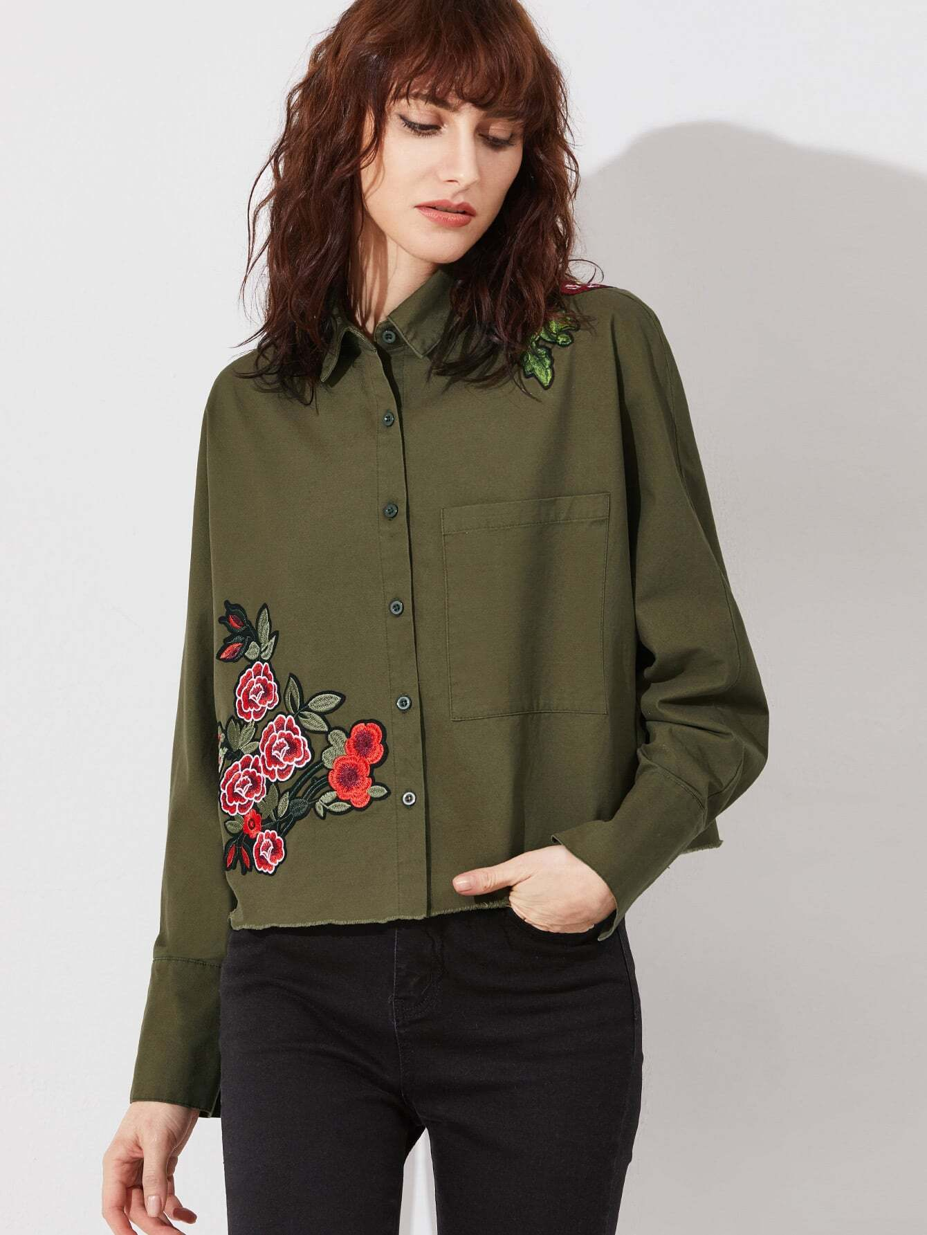 Embroidered Flower Applique Dolman Sleeve Raw Hem Blouse embroidered flower patch raw hem hoodie
