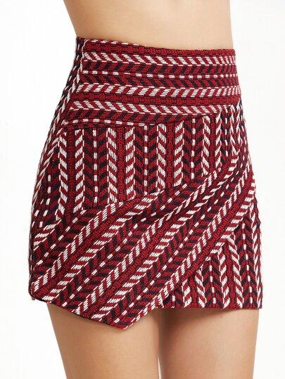 Falda asimétrica de croché espalda con cremallera - borgoña