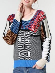 Color Block Crew Neck Houndstooth Sweater