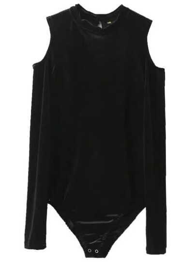 Body de terciopelo con hombros al aire - negro