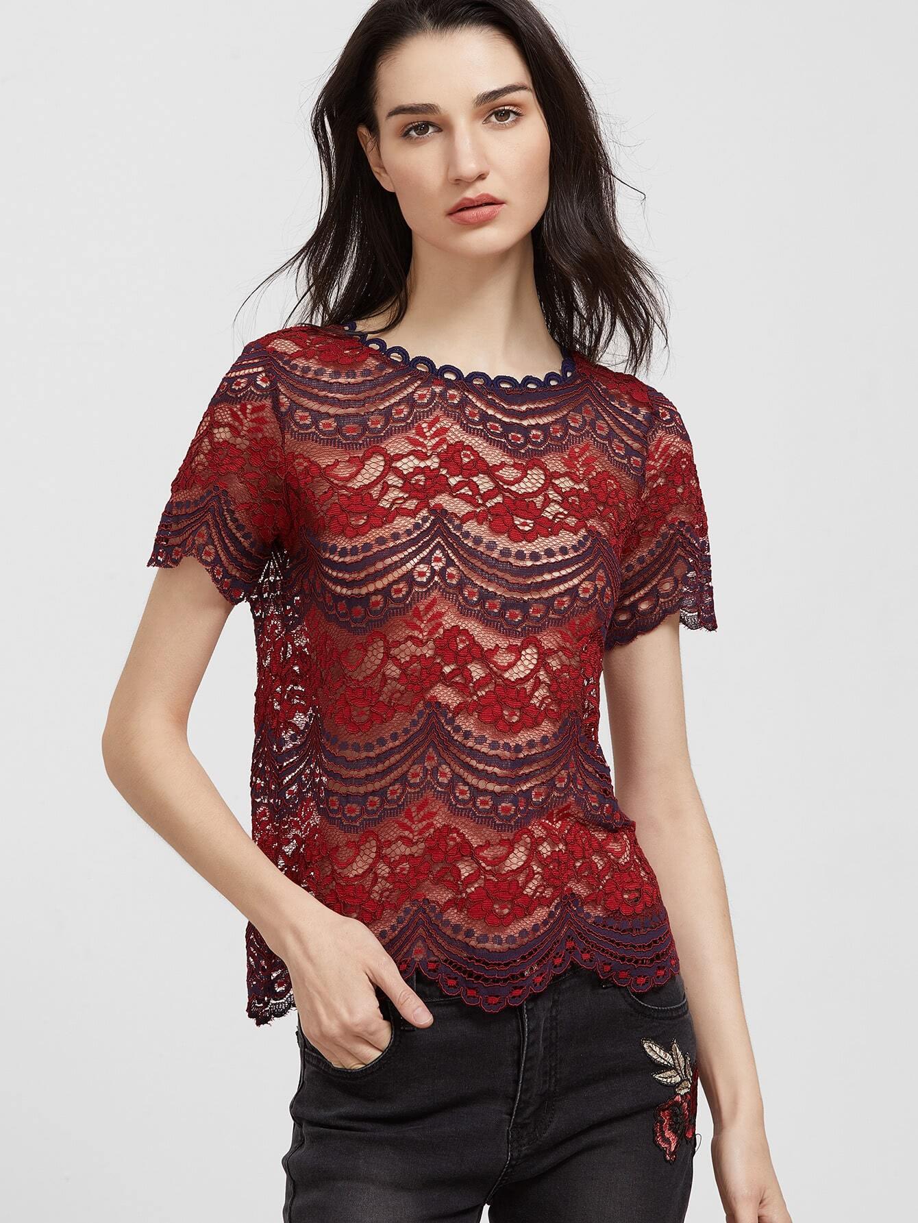 Фото Tasseled Tie Back Sheer Floral Lace Top. Купить с доставкой