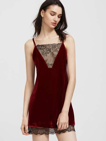 Contrast Lace Trim Strappy Back Velvet Cami Dress