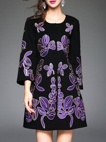 Black Purple Crew Neck Flowers Embroidered Coat