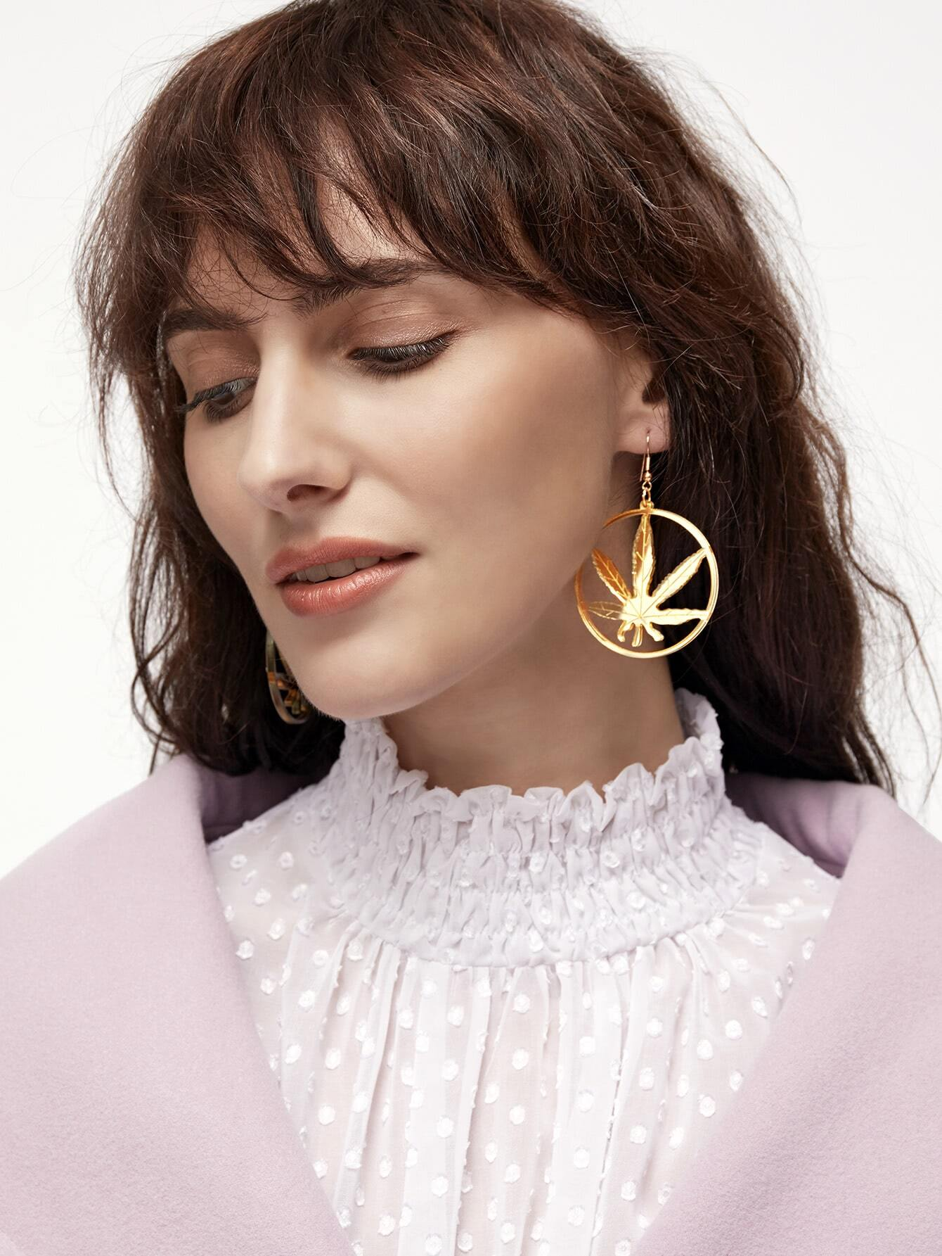 Gold Leaf Hoop Drop Earring